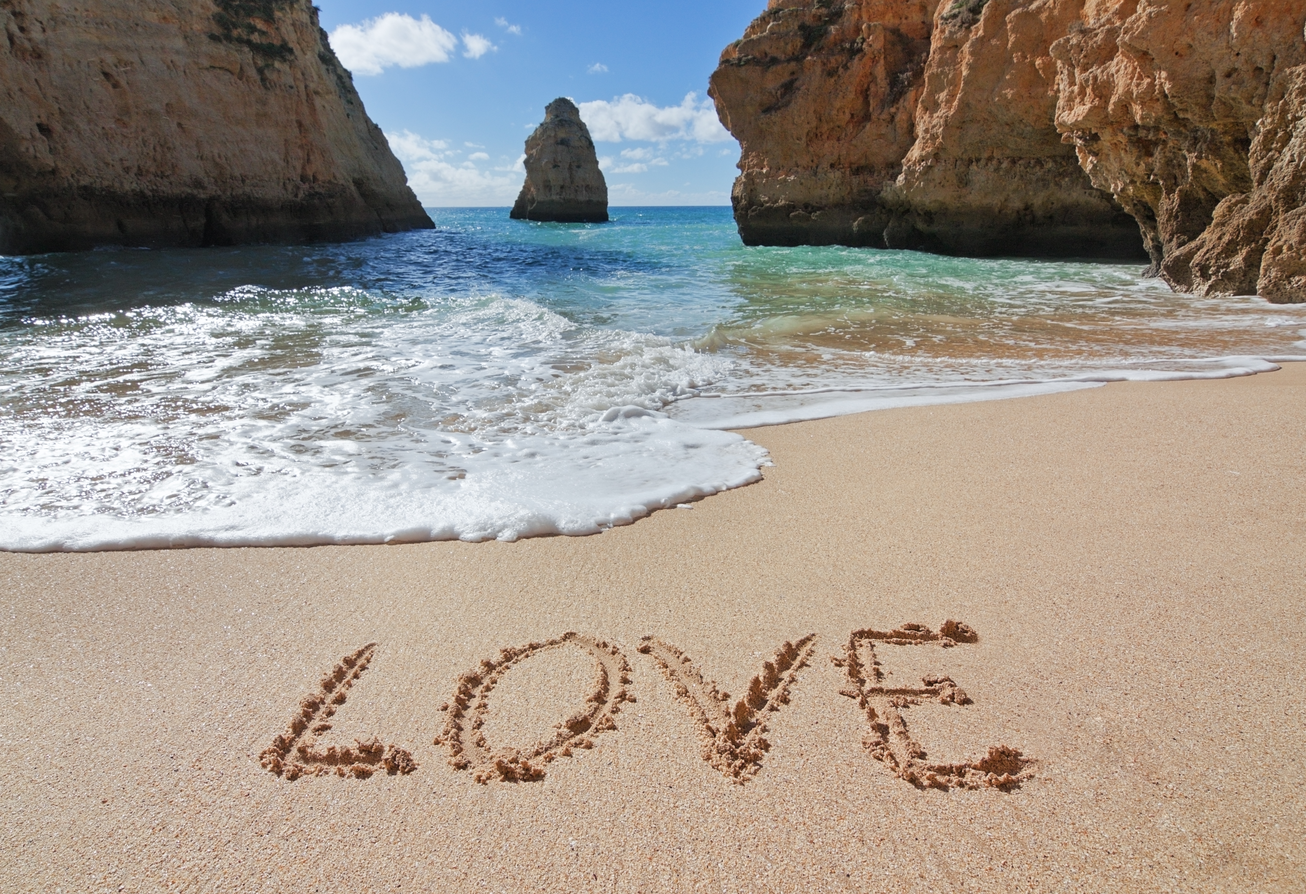 Word Love In The Sand At The Beach On Valentine S Day Romance
